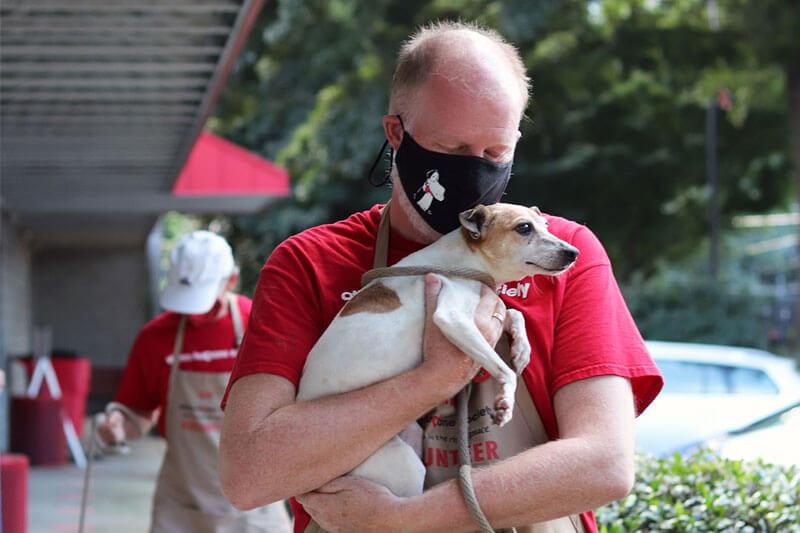 Dog Being Comforted Hurricane Ida